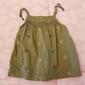 GAP Baby Girl Army Green Tank Top with Embroidery